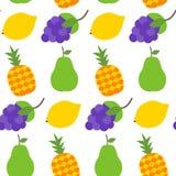 Bezszwowy wzór z zdrowymi owoc nad bielem Obraz Stock