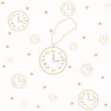 Bezszwowy wzór z zegarem i książkami Zdjęcie Stock