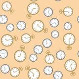 Bezszwowy wzór z zegarkami 569 Obrazy Royalty Free