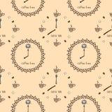 Bezszwowy wzór z zegaru ` czasu ` kawowymi filiżankami i adra royalty ilustracja