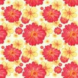 Bezszwowy wzór z zieleń kwiatami i liśćmi Obraz Royalty Free