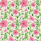 Bezszwowy wzór z zieleń kwiatami i liśćmi Obrazy Royalty Free