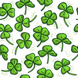Bezszwowy wzór z zieloną koniczyną Dobry Zdjęcia Stock