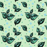 Bezszwowy wzór z zielonymi liśćmi i polki kropką, Zdjęcia Royalty Free