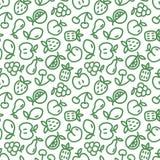 Bezszwowy wzór z zielonymi owoc na białym tle Eco projekt z cienkimi kreskowymi owocowymi ikonami dla supermarket broszurki, opak Obraz Royalty Free