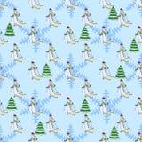 Bezszwowy wzór z zimą, płatkami śniegu i choinką, Zdjęcia Royalty Free