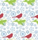 Bezszwowy wzór z zima płatkiem śniegu dla zima wakacji projekta i ptakiem Zdjęcia Stock