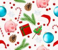 Bezszwowy wzór z zima wakacje wystrojem Set Bożenarodzeniowy Bauble, płatek śniegu, świniowaty chiński nowego roku symbol, sosny  zdjęcie royalty free