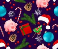Bezszwowy wzór z zima wakacje wystrojem Set Bożenarodzeniowy Bauble, płatek śniegu, świniowaty chiński nowego roku symbol, sosny  royalty ilustracja