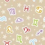 Bezszwowy wzór z zodiaków znakami Zdjęcie Stock