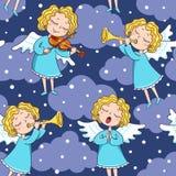 Bezszwowy wzór zespół aniołowie na zmroku zdjęcie royalty free