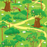 Bezszwowy wzór - Zielony lasu krajobraz ilustracji