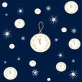 Bezszwowy wzór zima zegar rezerwuje i śnieg Fotografia Royalty Free