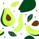 Bezszwowy wz?r z ca?ym avocado, avocado ci?cym w po??wce, plasterkami avocados, ziarnami i li??mi, royalty ilustracja