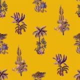 Bezszwowy wz?r z egzotycznymi drzewami taki my palma, monstera i banan, Wewn?trzna rocznik tapeta ilustracja wektor
