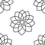 Bezszwowy wz?r z geometrycznego kwiatu czarny i bia?y ilustracj? mo?e u?ywa? dla textille druku, t?o, tapeta fotografia stock