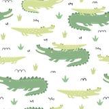 Bezszwowy wz?r z ?licznymi krokodylami royalty ilustracja