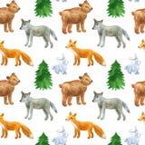 Bezszwowy wz?r z ?licznymi lasowymi zwierz?tami: wilk, nied?wied?, lis, zaj?c R?ka rysuj?ca akwareli ilustracja Tekstura dla druk ilustracji