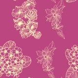 Bezszwowy wz?r z z?otymi kwiatami Anemona primula clematis royalty ilustracja