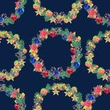 bezszwowy wzoru Akwareli bożych narodzeń wianek Zdjęcie Royalty Free