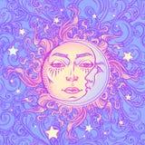 bezszwowy wzoru Bajki stylowy słońce z twarzą ludzką odpoczywa na kędzierzawej ozdobnej chmurze Mandala tatuaż Obraz Royalty Free