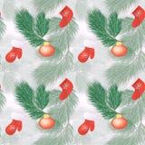 bezszwowy wzoru Bożenarodzeniowe dekoracje i pudełka z prezenta świątecznym tłem z gałąź świerczyna i butem Święty Mikołaj ilustracji