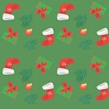 bezszwowy wzoru Bożenarodzeniowe dekoracje i pudełka z prezenta świątecznym tłem z gałąź świerczyna i butem Święty Mikołaj ilustracja wektor