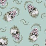 bezszwowy wzoru czaszka z makeup i zieleni broderiami ilustracja wektor