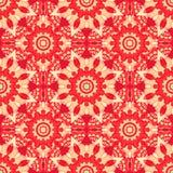 bezszwowy wzoru Dekoracyjny wzór w pięknych czerwonych jabłka i beżu kolorach również zwrócić corel ilustracji wektora Zdjęcia Stock