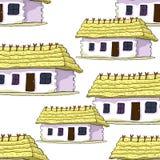 Bezszwowy wzoru dom z pokrywającym strzechą dachem również zwrócić corel ilustracji wektora ilustracja wektor