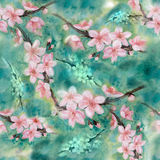 bezszwowy wzoru gałąź kwitnie drzewo akwarela wally royalty ilustracja