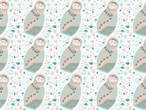 bezszwowy wzoru Gniazdować lale w pastelowych kolorach z abstrakcjonistycznymi gałąź, liście, wykłada i okręgi na białym tle ilustracja wektor