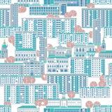 bezszwowy wzoru Kasetonuje wieżowów i starą historyczną dom formę nowożytny małomiasteczkowy zimy miasteczko royalty ilustracja