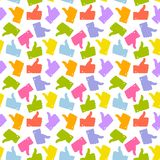 bezszwowy wzoru Kolorowy kciuk W górę ikony Obrazy Royalty Free