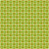bezszwowy wzoru Liście klonowi na geometrycznym tle kwadraty Zieleni i brązu kolory wektor Obraz Royalty Free