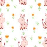 bezszwowy wzoru Małe krowy na kwiat łące ilustracja wektor