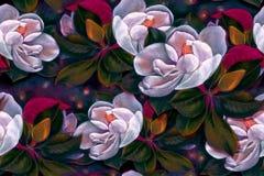 bezszwowy wzoru Magnolia Rysunkowy pastel Kwiaty na drzewie wally 3d wysokiego ilustracyjnego postanowienia drzewny tulipanowy bi ilustracja wektor