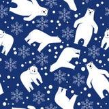 bezszwowy wzoru Niedźwiedź polarny na błękitnym tle Obrazy Royalty Free