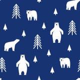 bezszwowy wzoru Niedźwiedź polarny na błękitnym tle Zdjęcia Stock