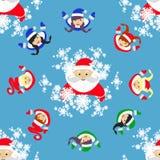 bezszwowy wzoru Nowego Roku ` s boże narodzenia wakacyjni Święty Mikołaj, devushkasant i elf w okręgu, ilustracja my ilustracja wektor