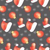 bezszwowy wzoru Nowy rok, boże narodzenia na szarym tło mitynki kapeluszu dla Święty Mikołaj choinki zabawki czerwonego koloru ilustracja wektor