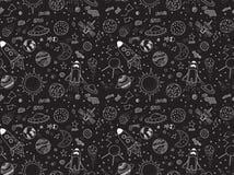 bezszwowy wzoru Pozaziemscy przedmioty ustawiający Ręki rysujący wektorów doodles Rakiety, planety, gwiazdozbiory, ufo, gwiazdy,  royalty ilustracja