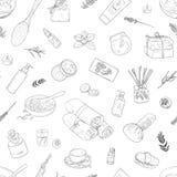 bezszwowy wzoru Prac notatki, tła studiowanie, kreatywnie styl życia Ręka rysująca ilustracyjna kobiety ` s ciała opieka Obraz Royalty Free