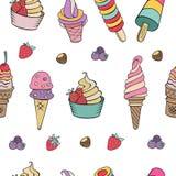 bezszwowy wzoru Różny lody z owoc, dokrętkami i t, Obrazy Royalty Free