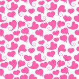 bezszwowy wzoru Różowi serca na bielu Ilustracja Wektor