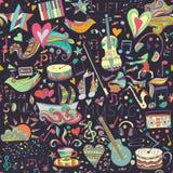 bezszwowy wzoru Ręka rysujący kolorowy musical Zdjęcia Stock