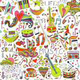 bezszwowy wzoru Ręka rysujący kolorowy musical Zdjęcie Stock