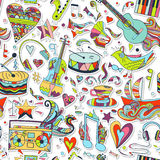 bezszwowy wzoru Ręka rysujący kolorowy musical Zdjęcia Royalty Free