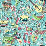bezszwowy wzoru Ręka rysujący kolorowy musical Obraz Royalty Free