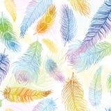 bezszwowy wzoru Ręki rysujący barwioni ptasi piórka Boho styl Fotografia Royalty Free